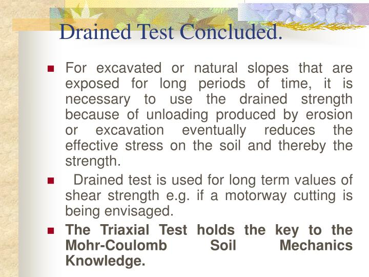 Drained Test Concluded.