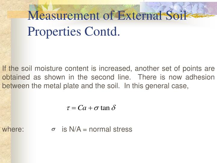 Measurement of External Soil Properties Contd.