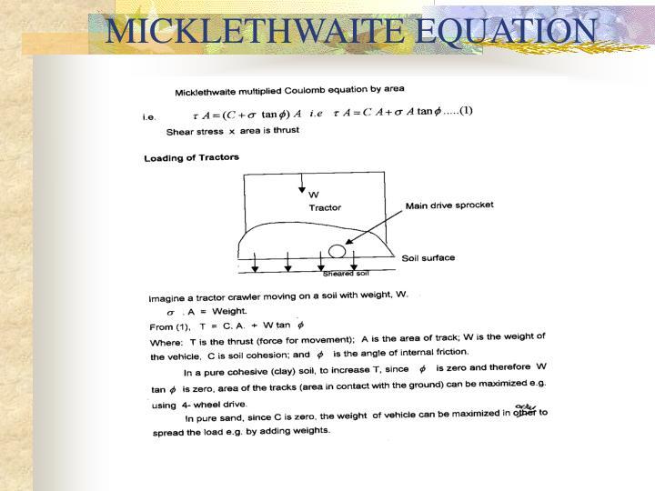 MICKLETHWAITE EQUATION