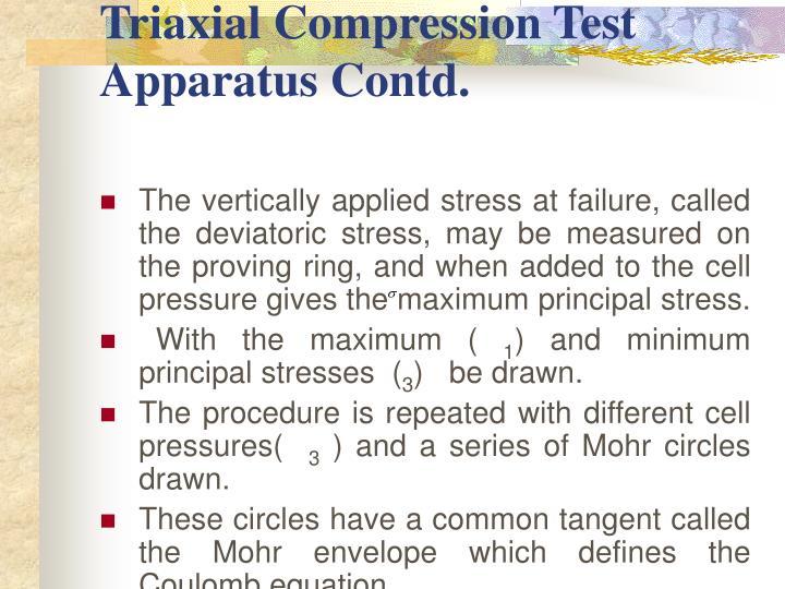 Triaxial Compression Test Apparatus Contd.
