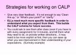 strategies for working on calp