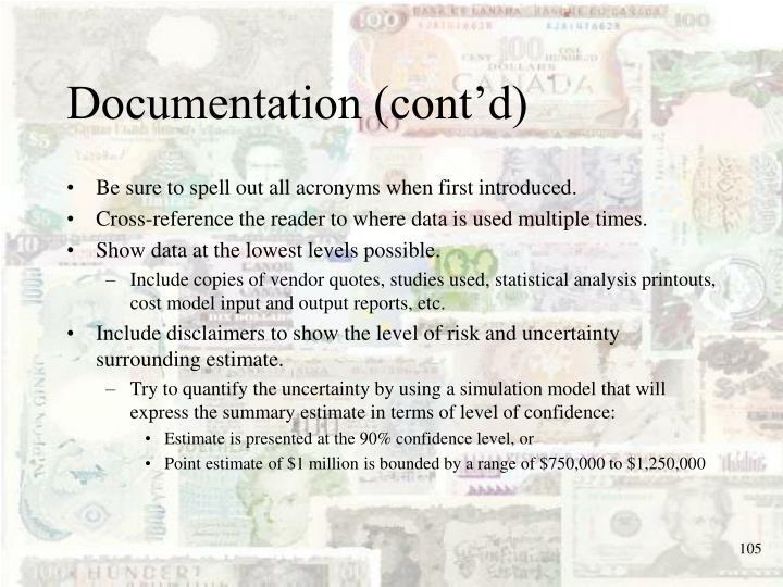 Documentation (cont'd)