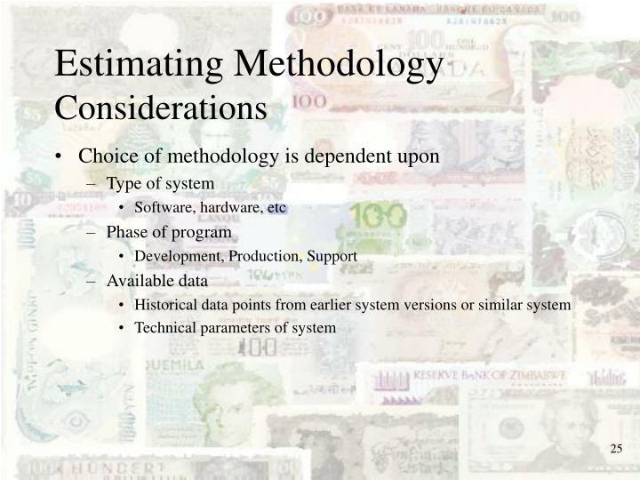 Estimating Methodology