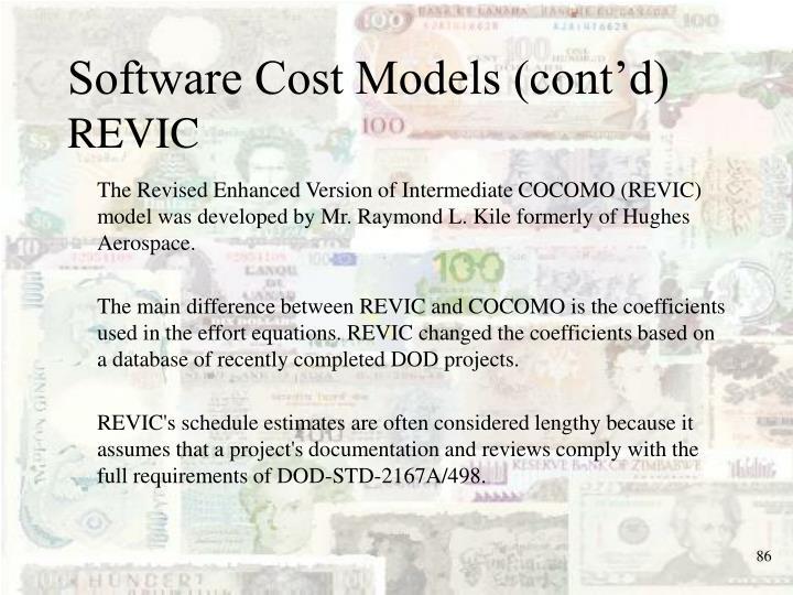 Software Cost Models (cont'd)