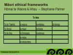 m ori ethical frameworks h mai te waiora ki ahau stephanie palmer