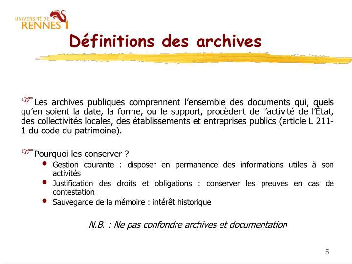 Définitions des archives