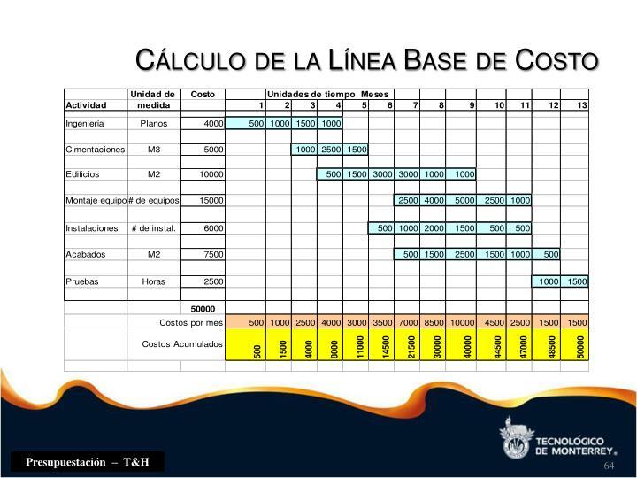 Cálculo de la Línea Base de Costo