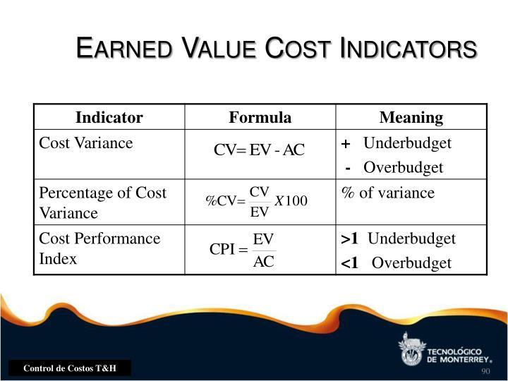 Earned Value Cost Indicators