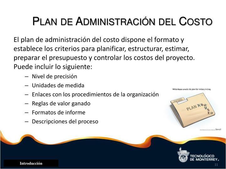 Plan de Administración del Costo