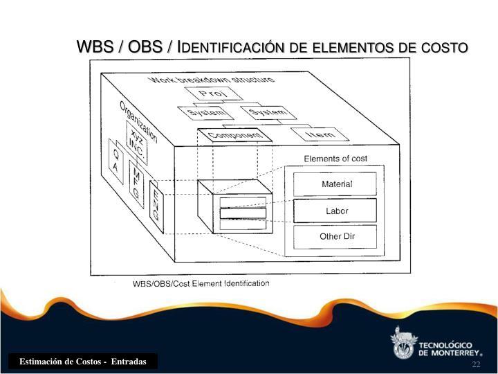 WBS / OBS / Identificación de elementos de costo