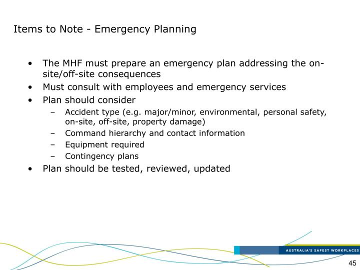 Items to Note - Emergency Planning