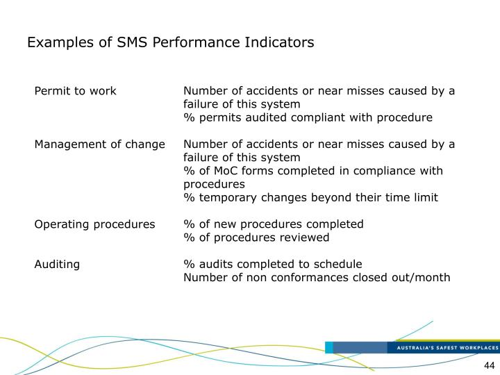 Examples of SMS Performance Indicators