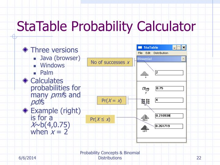 StaTable Probability Calculator