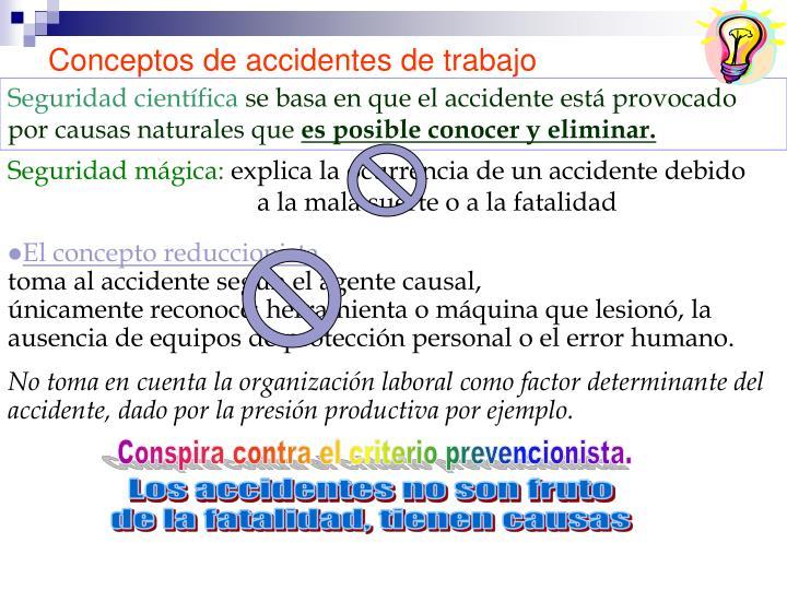 Conceptos de accidentes de trabajo