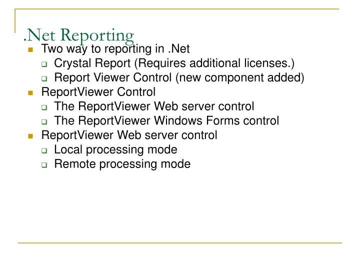 Net reporting