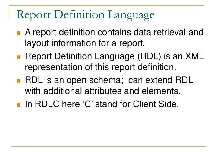 Report Definition Language