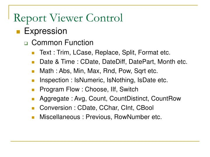 Report Viewer Control