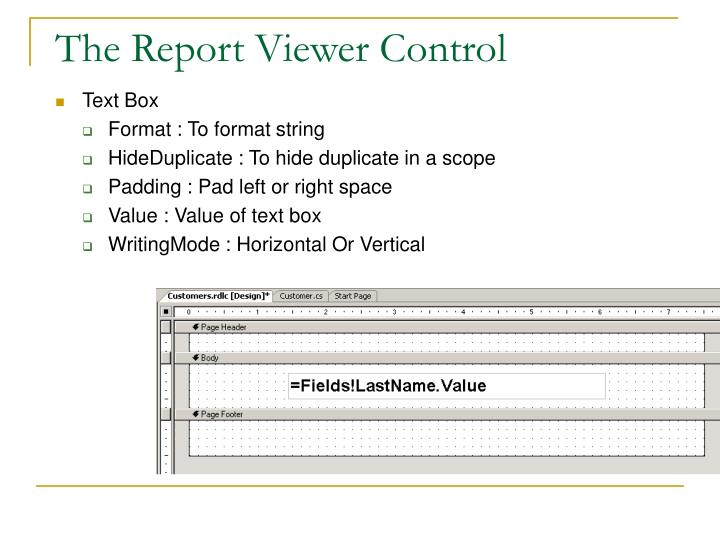 The Report Viewer Control