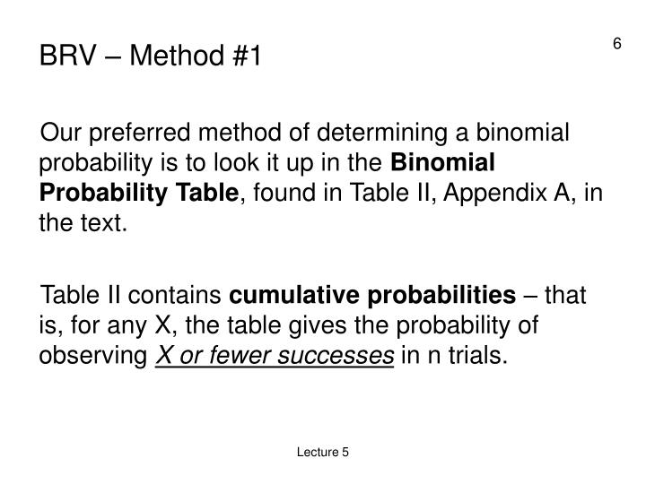 BRV – Method #1