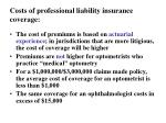 costs of professional liability insurance coverage