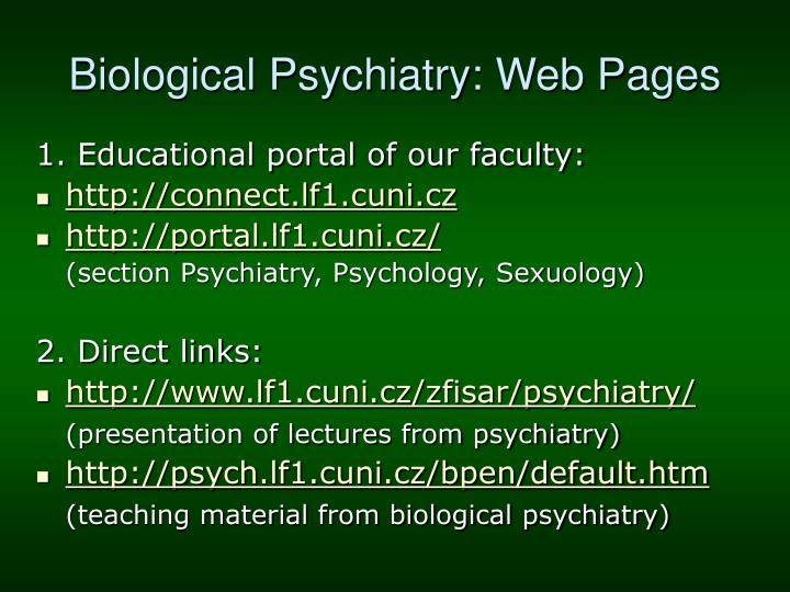 Biological psychiatry web pages