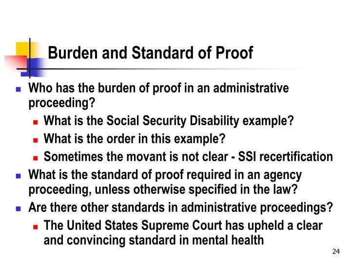 Burden and Standard of Proof