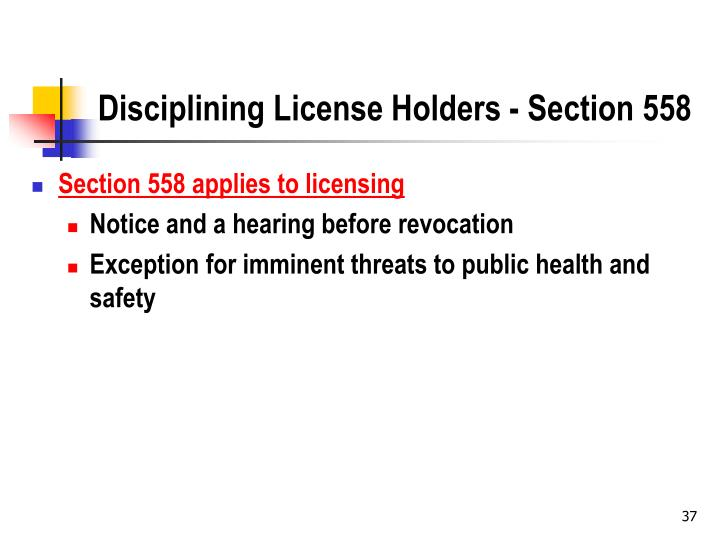 Disciplining License Holders - Section 558