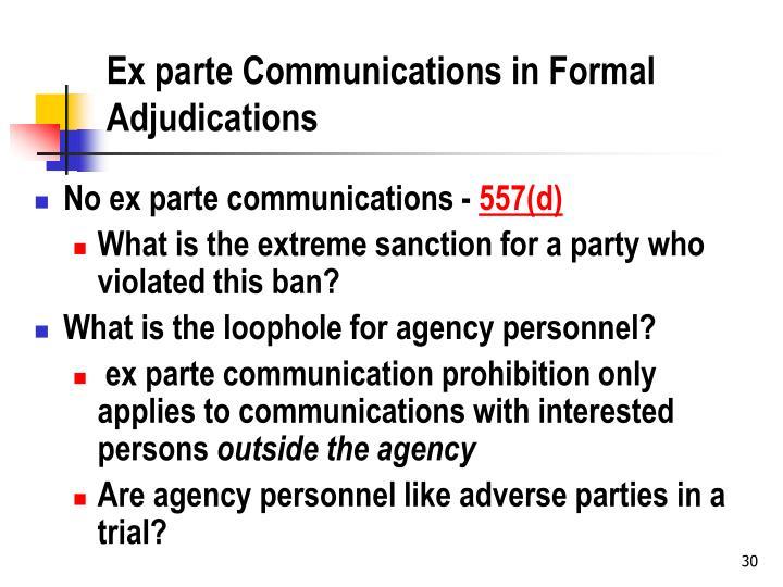 Ex parte Communications in Formal Adjudications