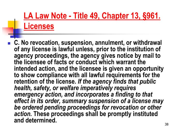 LA Law Note - Title 49, Chapter 13, §961. Licenses