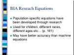 bia reseach equations