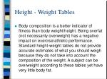 height weight tables