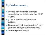 hydrodensitometry