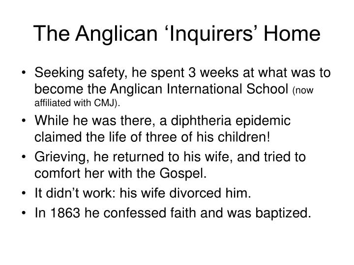 The Anglican 'Inquirers' Home