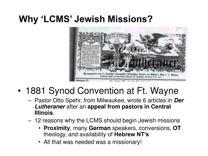 Why 'LCMS' Jewish Missions?