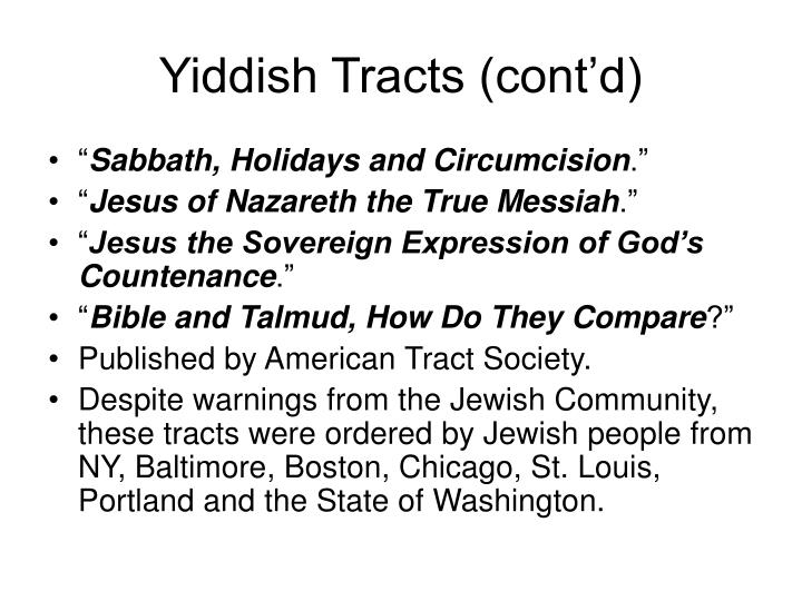Yiddish Tracts (cont'd)