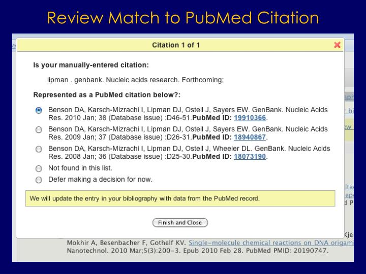 Review Match to PubMed Citation