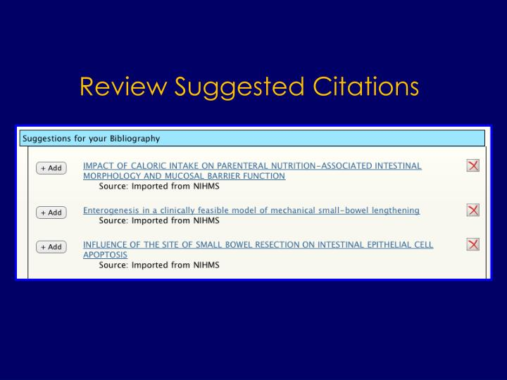 Review Suggested Citations