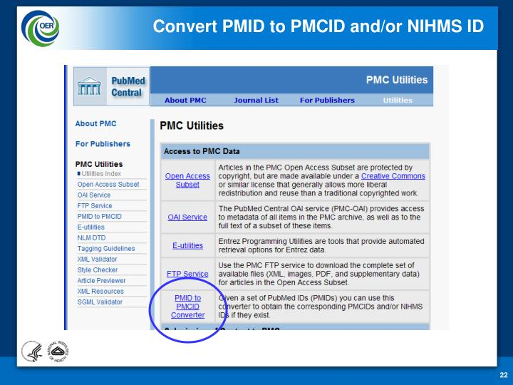 Convert PMID to PMCID and/or NIHMS ID