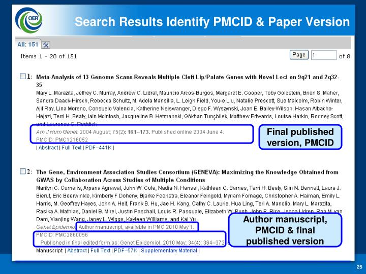 Search Results Identify PMCID & Paper Version