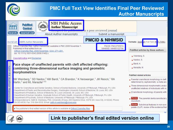 PMC Full Text View Identifies Final Peer Reviewed