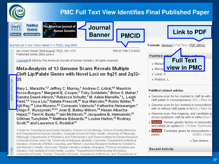PMC Full Text View Identifies Final Published Paper