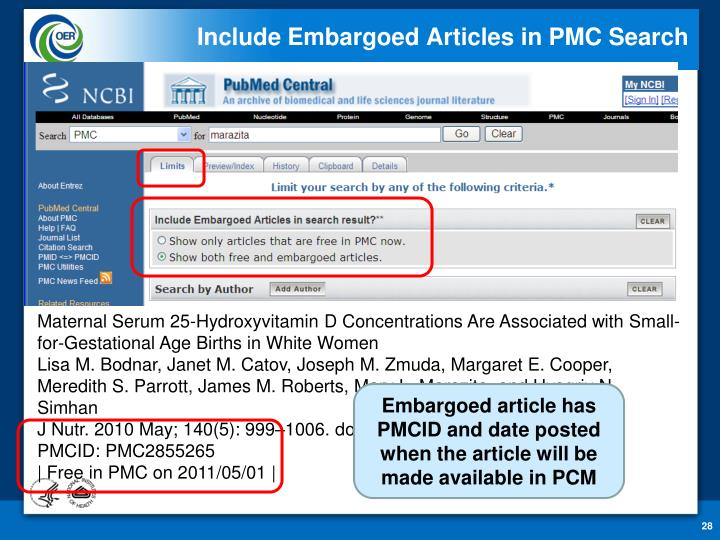 Include Embargoed Articles in PMC Search