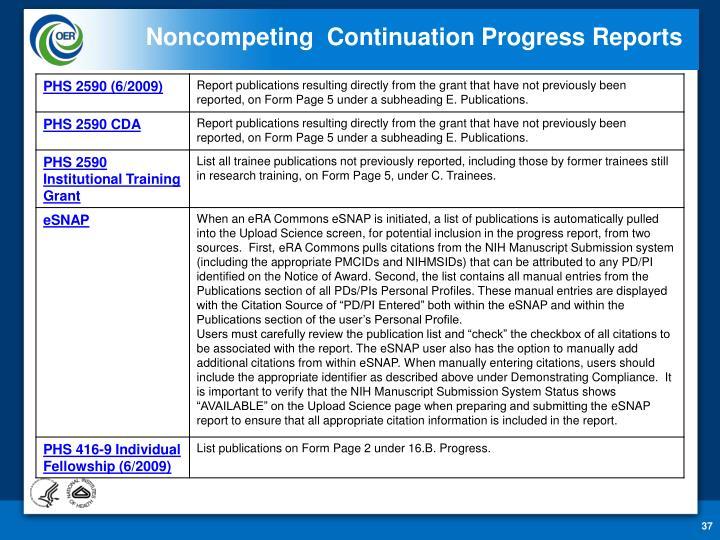 Noncompeting  Continuation Progress Reports