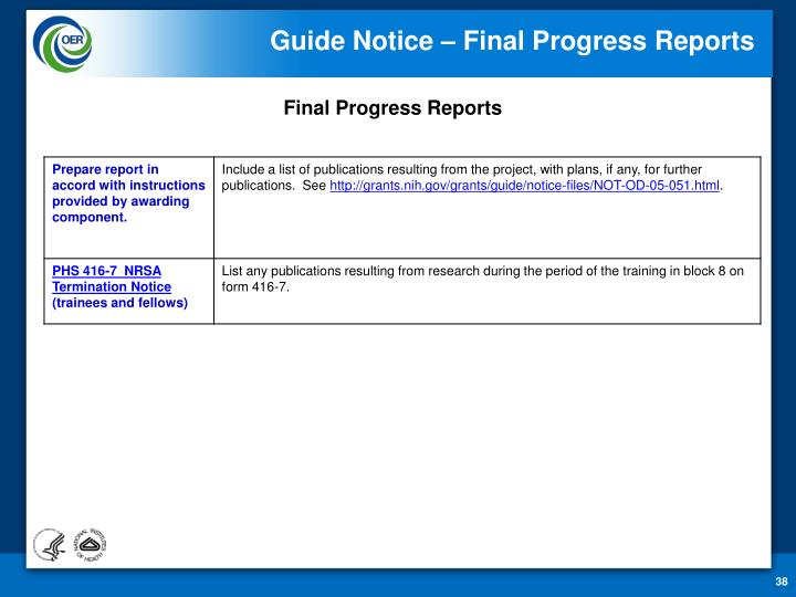 Guide Notice – Final Progress Reports