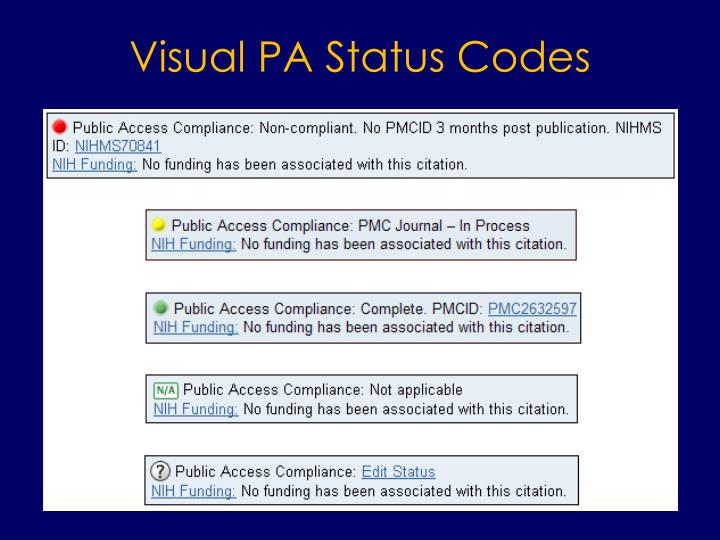 Visual PA Status Codes