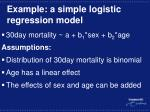 example a simple logistic regression model