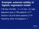 example external validity of logistic regression model
