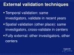 external validation techniques