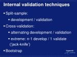 internal validation techniques