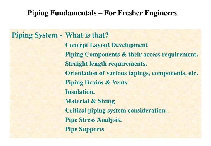 Piping Fundamentals – For Fresher Engineers